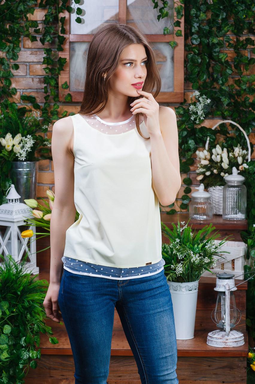 Блуза без рукава цвета жёлтая ,Бл-4460