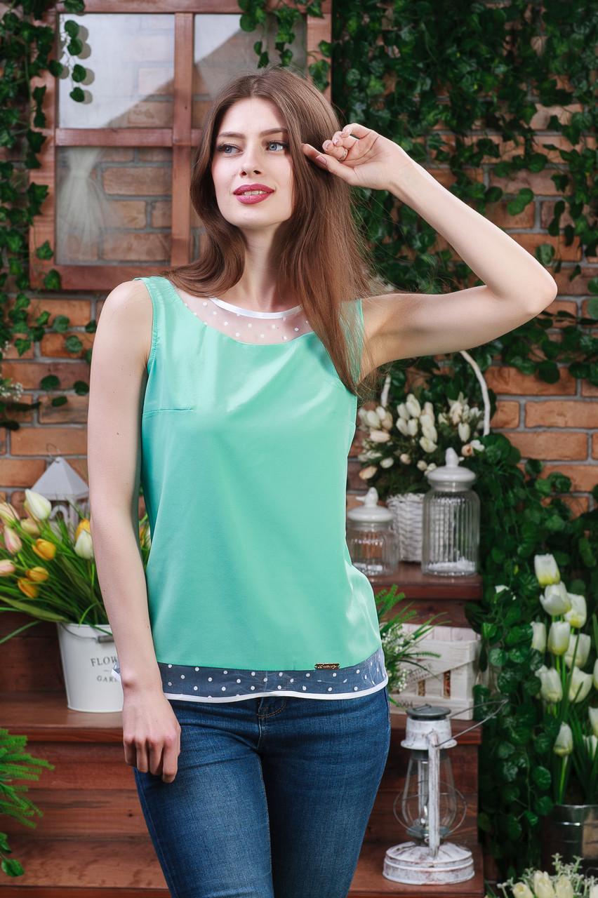 Блуза без рукава цвета мята,Бл-4462