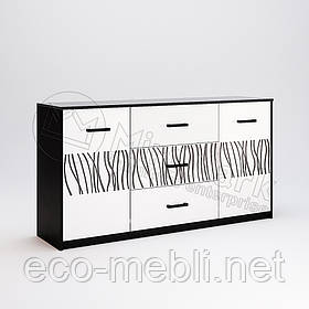 Комод 2Д3Ш 1.6 м. у вітальню Терра Білий Глянець - Чорний Мат Міромарк