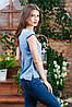Летняя блуза с коротким рукавом голубая, Бл-4470, фото 2