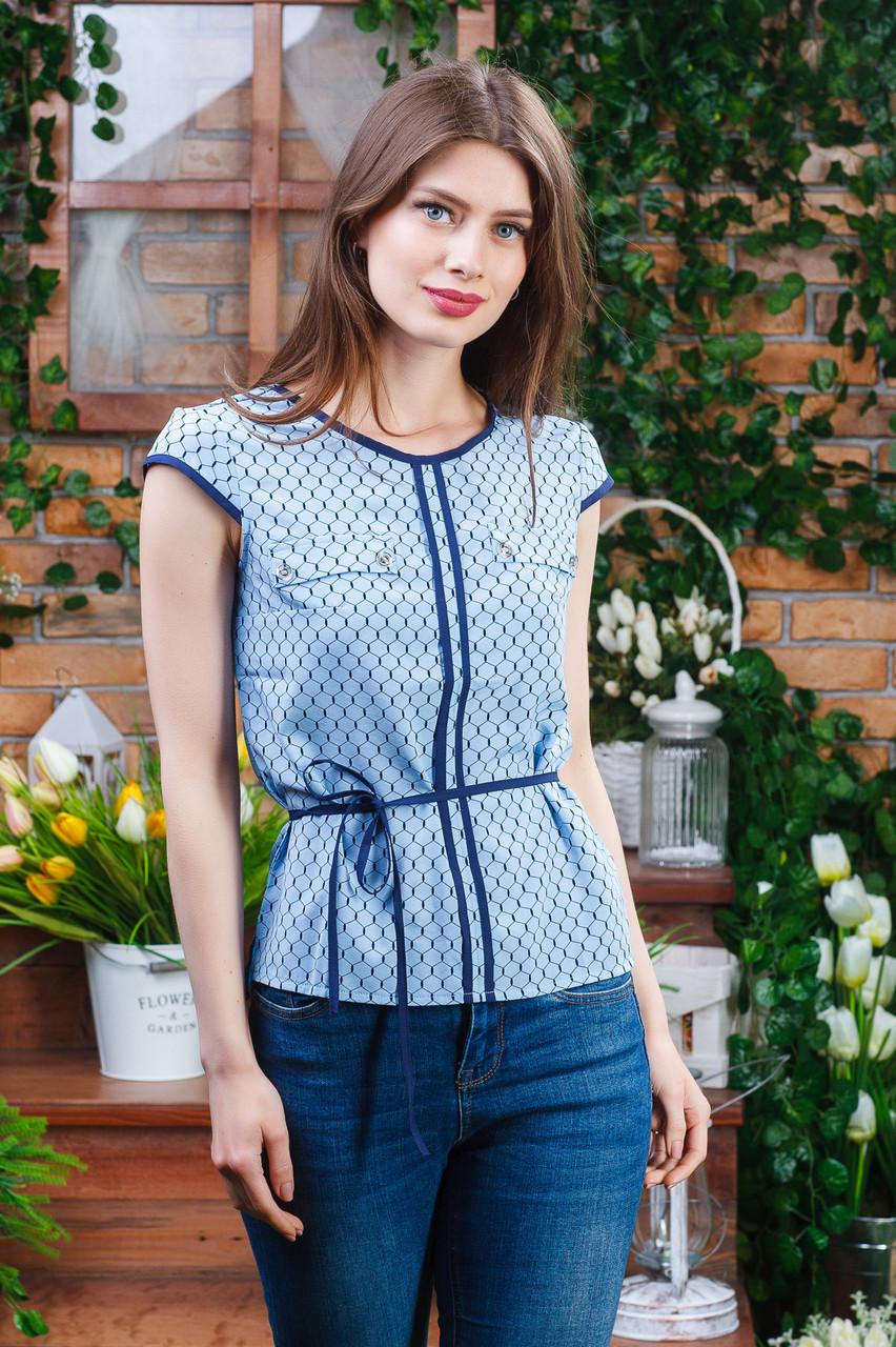 Летняя блуза с коротким рукавом голубая, Бл-4470