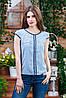 Летняя блуза с коротким рукавом голубая, Бл-4470, фото 3