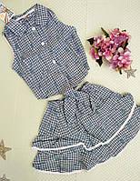 Детский летний комплект юбка+топ р. 98-122 клеточка син
