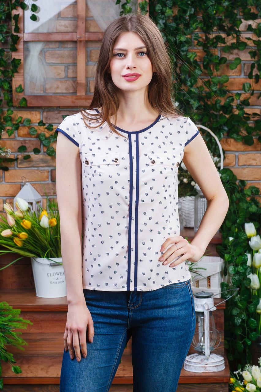 Летняя блуза принт сердечки, Бл-4472