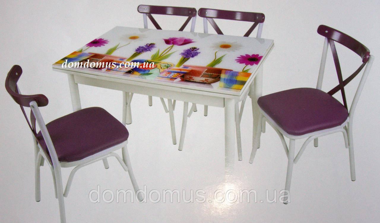 """Комплект кухонних меблів стіл і 4 стільця """"Papanya"""" Mobilgen, Туреччина (стільниця МДФ гартоване скло)"""