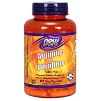 Аминокислоты NOW Arginine + Citrulline (120 капс)