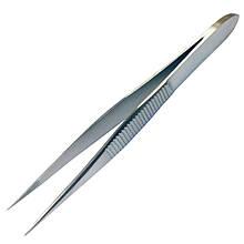 Пинцет для удаления костных осколков прямой зубчатый без направляющего штифта. Длина 8 см