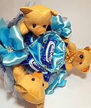 Букет мягких игрушек и конфет Okl голубой РР 1550