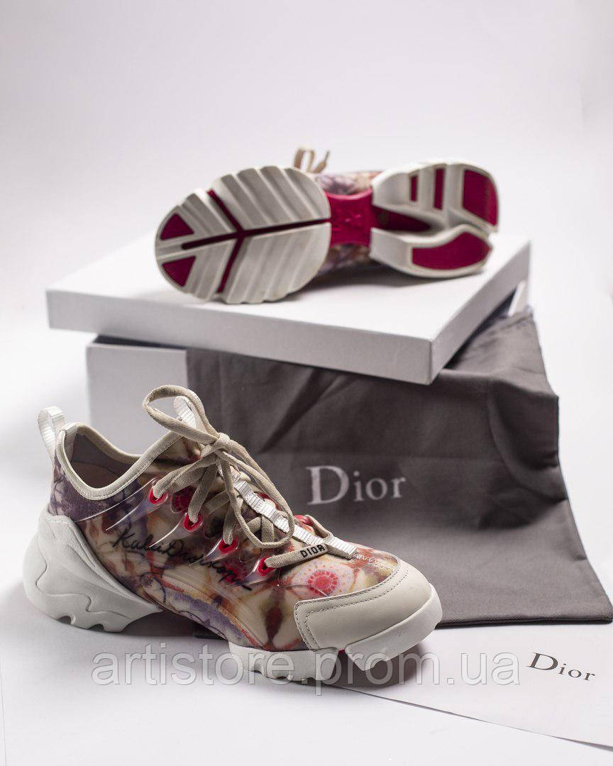 Кроссовки Dior D connect Sneakers Flowers with white Цветы с белым