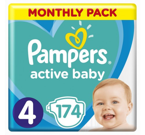 Подгузники  PAMPERS ACTIVE BABY  размер  4 (MAXI) 8-14 кг, 174 шт.