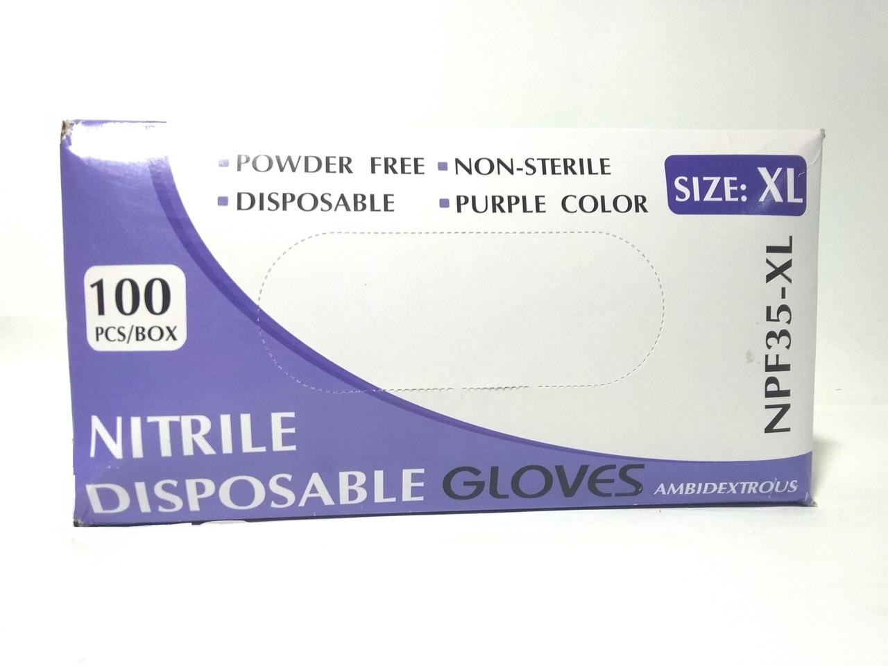 Перчатка нитриловая неопудренная XL 100шт/уп NPF35-XL