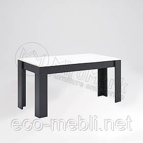 Стіл столовий 1600х950 у вітальню Терра Білий Глянець - Чорний Мат Міромарк