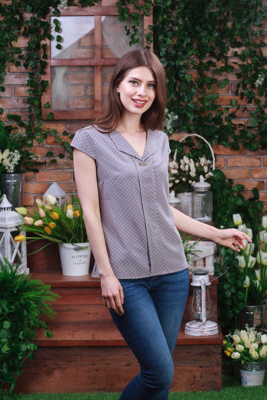 Летняя блуза серого цвета, Бл- 5922