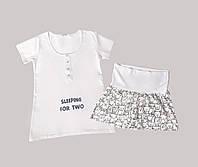 🌼 Хлопковая пижама футболка шорты для беременных и кормящих мам 24173