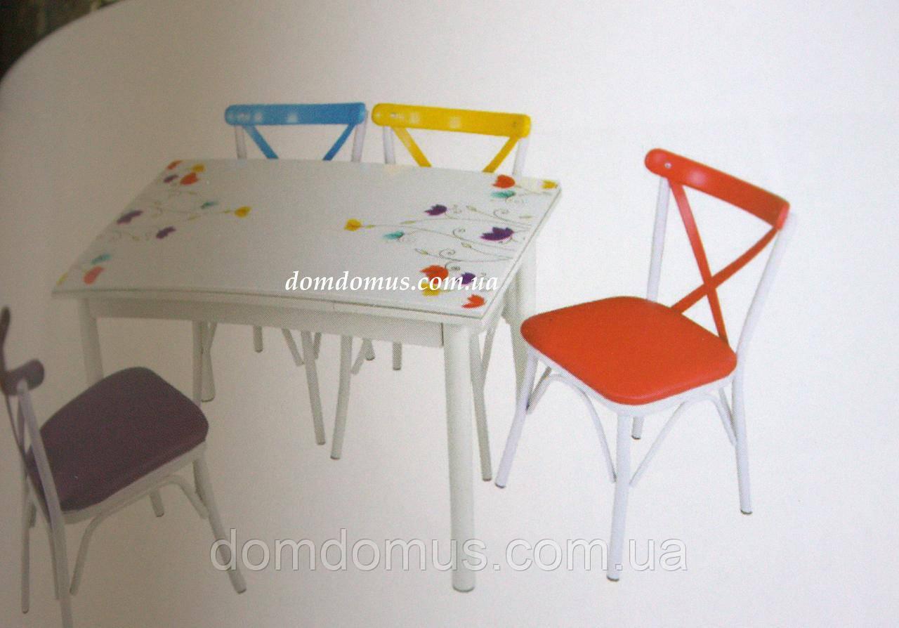 """Комплект кухонних меблів стіл і 4 стільця """"Lale"""" Mobilgen, Туреччина (стільниця МДФ гартоване скло)"""