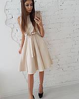 Женское нежное платье приталеное с поясом