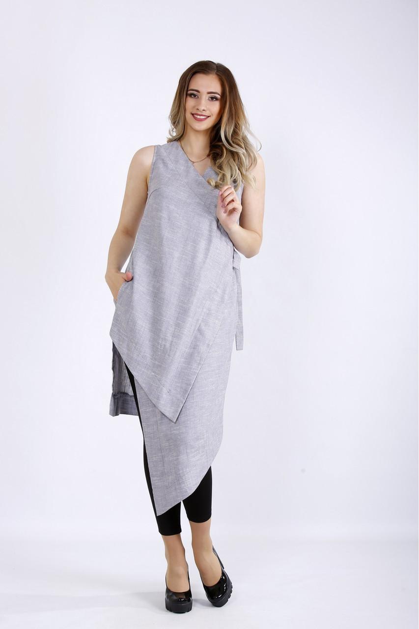01179-1 | Длинная серая блузка-туника из льна