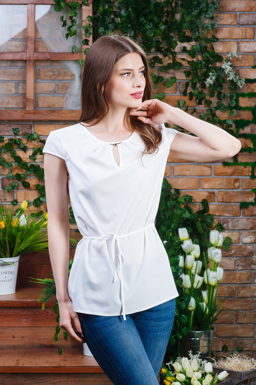Летняя блуза молочного цвета, Бл- 5942