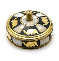 Шкатулка бронзовая с перламутром (d-7,h-3,5 см) Индия