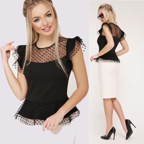 af0b23e57ed Женская черная блузка с баской Лето с 42 по 46 р купить недорого в ...