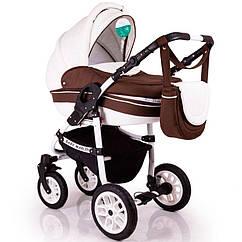 Детская коляска 2в1 Baby Marlen белая с коричневым