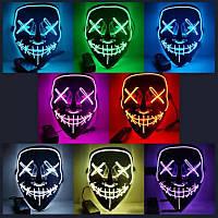 Светящаяся маска Неоновая маска - судный день, маска на хеловин Неоновая LED маска Оригинал