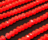 Бусины хрустальные (Рондель)  4х3мм пачка - 120-130шт, цвет - неоновый оранжевый кракелюр