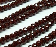 Бусины хрустальные (Рондель)  4х3мм пачка - 120-130шт, цвет - шоколадный кракелюр