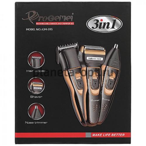 Машинка для стрижки волос ProGemei GM-595, триммер, бритва,3в1