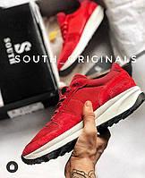 Кроссовки кеды мужские красные стильные South Soft Step. Натуральная замша