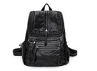 0475 Рюкзак  натуральная кожа женский  черный