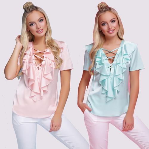 Стильная шелковая блузка с воланами короткий рукав белая мята персик размеры 42 по 46