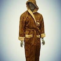 Мужской махровый халат с капюшоном Camel Коричневый (L/XL)