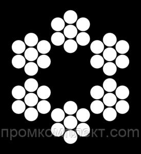 Трос 8мм. DIN 3055 (6x7+FC) (оцинкованный W1, в ПВХ оплетке - 2мм.) (бухта 100м.) APRO