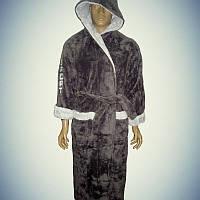 Мужской халат софт с капюшоном Sport Серый (L/XL)