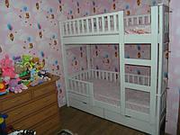 Двухярусная кровать разборная Карина, массив дуб, ясень, фото 1