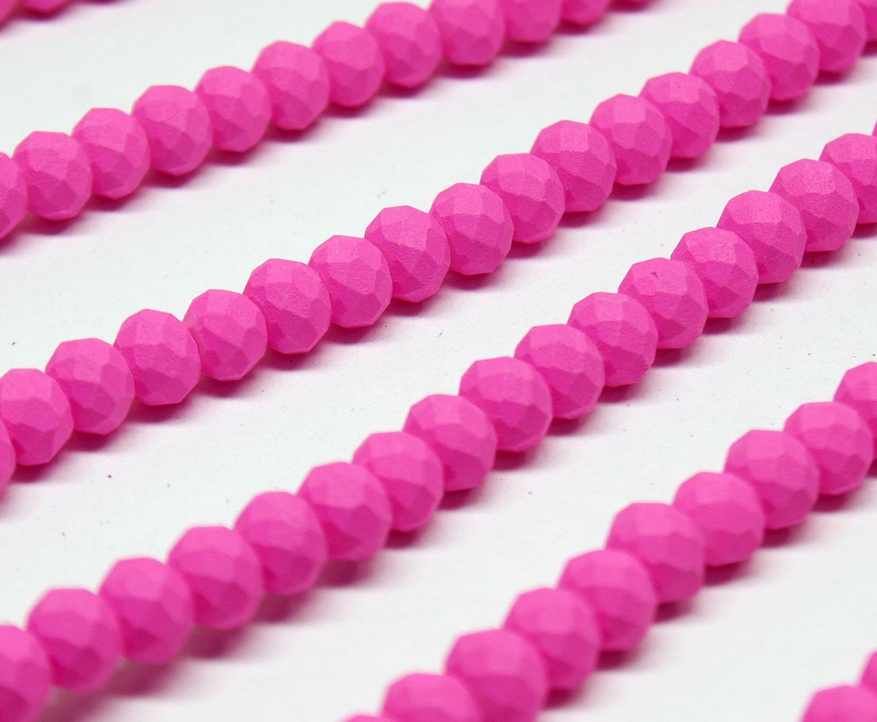 Бусины хрустальные (Рондель)  4х3мм пачка - 120-130шт цвет - матовый малиновый