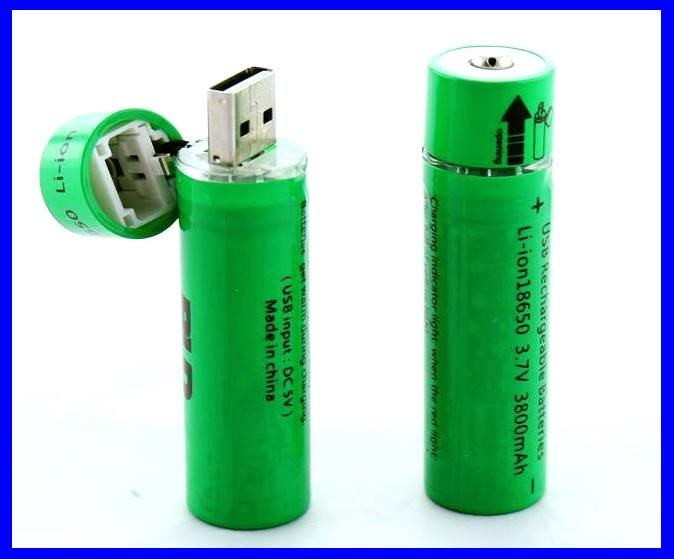USB Аккумуляторы Li-ion 18650 (пальчиковый) 3,7v, емкостью 3800 мАч. ( 77177 )