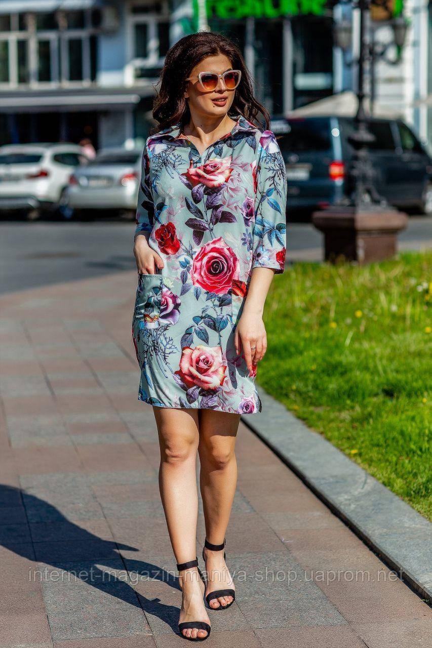 Платье женское 089 розы карманы 50-56 батал (лето)