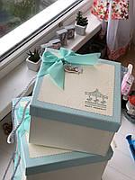 """Декоративная коробка с ручками """"Карусель""""  голубого цвета для подарков """"L"""""""