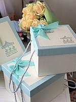 """Декоративная коробка с ручками """"Карусель""""  голубого цвета для подарков """"S"""""""