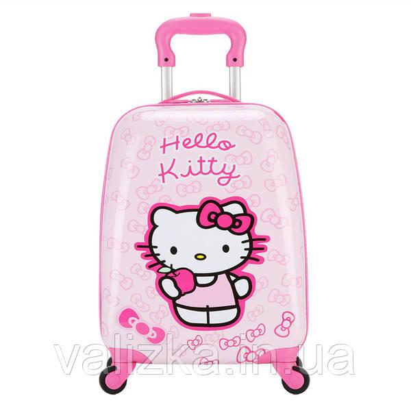 Чемодан дорожній для подорожей дитячий для дівчинки маленький для ручної поклажі з принтом Hello Kitty.