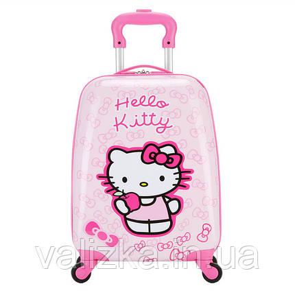 Чемодан дорожній для подорожей дитячий для дівчинки маленький для ручної поклажі з принтом Hello Kitty., фото 2