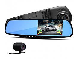Видеорегистратор зеркало с камерой заднего вида 2 камеры DVR Full HD Черный