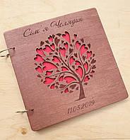 Весільна книга побажань та відгуків з дерев'яними обкладинками, фото 1