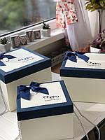 """Декоративная коробка с ручками """"Сердечки""""  синего цвета для подарков """"L"""""""
