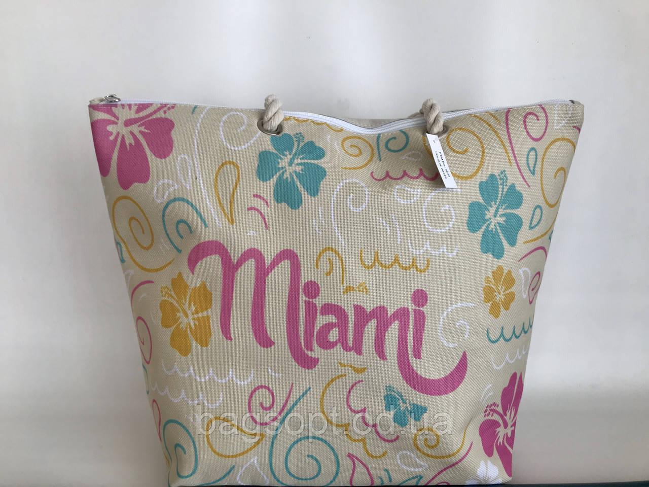 Вместительная пляжная летняя сумка тканевая(льняная) Маями Miami