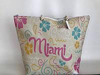 Вместительная пляжная летняя сумка тканевая(льняная) Маями Miami, фото 1