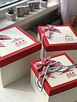"""Декоративная коробка с ручками """"Карусель""""  красного цвета для подарков """"S"""""""