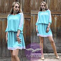 Шифоновое платье с гипюровыми вставками, фото 1